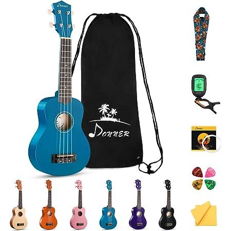 Donner Soprano Ukulele Beginner Kit for Kid Adult Student with Online Lesson 21 Inch Ukelele Bundle Bag Strap String Tuner Pick Polishing Cloth, Rainbow Series-Blue Color DUS-10B