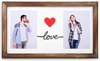 Emfogo 16x9 Picture Frames Display Two 5x7 Photo with Mat Made of Solid Wood & High Definition Glass Wood Picture Frame