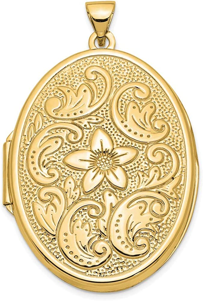 14k Yellow Gold 32mm Oval Flower Scrolls Photo Pendant Charm Locket Chain Necklace That Holds Pictures Fine Jewelry For Women Gifts For Her
