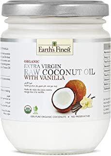 Earth's Finest Organic Extra-Virgin Raw Coconut Oil with Vanilla - 200ml   Cold-Pressed Coconut Oil for Cooking, Hair, Bod...