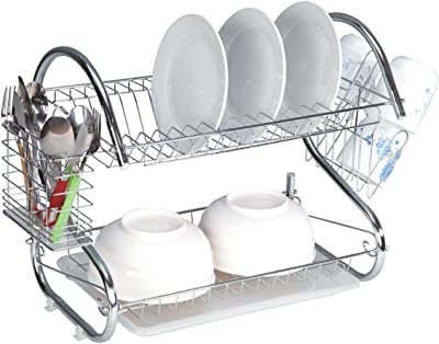 EURO-HOME 2-Tier Dish Rack, Steel