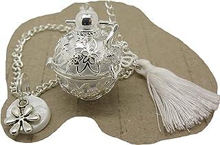 Bola de Grossesse Argent Plaqué Personnalisable avec Papillon sautoir bola de grossesse, pompon et breloque sur nacre cade...