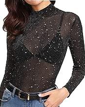 MANGOPOP Women's Glitter Sheer Mesh Tops Tee Blouse Clubwear