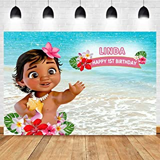 MMY 7x5ft Customizable Baby Moana Photography Backdrop Happy Birthday Party Decor Banner Sea Blue Water Summer Background Baby Shower Moana Cake Table Banner Supplies