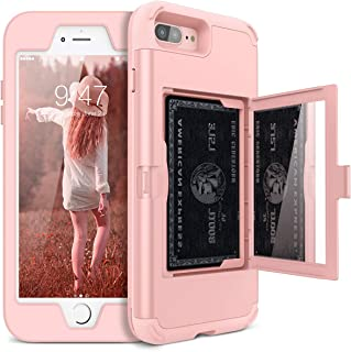 iPhone 7 Plus / 8 Plus Wallet Case - WeLoveCase Defender Wallet Design with Hidden Back Mirror and Card Holder Heavy Duty Protection Shockproof Armor Protective Case for iPhone 7 / 8 Plus - Rose Gold