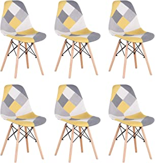 EGOONM Lot de 6 Chaise de Salle à Manger Multicolor Patchwork,Chaises en Tissu de Lin Loisirs Salon,Chaises avec Dossier à...