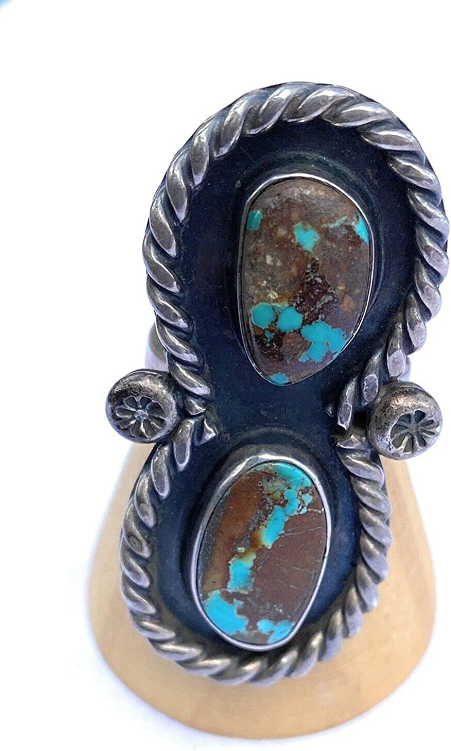 Ranking TOP1 Vintage Navajo Sterling Silver 6 Turquoise Rare Size Ring