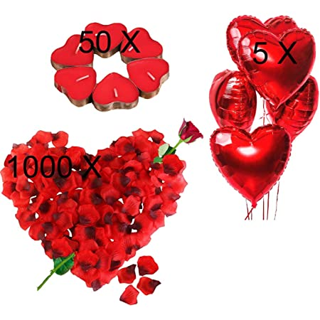 Kit Romantico Di Candele E Petali 50 Candeline A Forma Di Cuore 1000 Petali Di