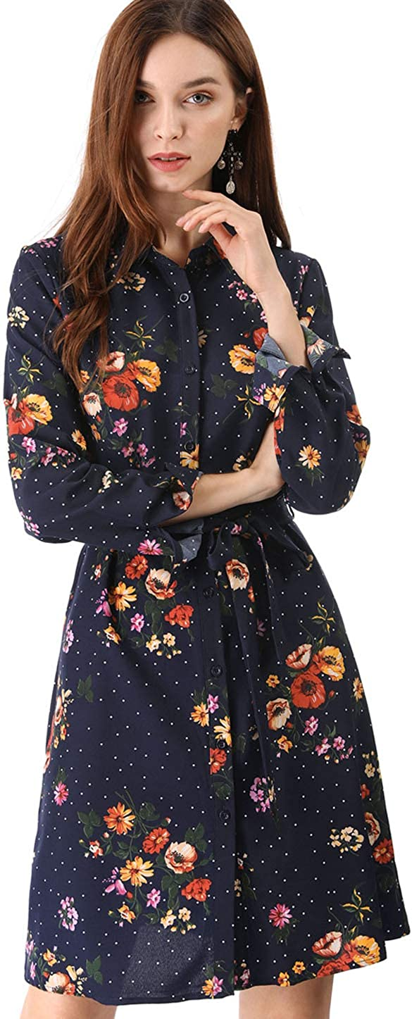 Allegra K Women's Button Down Vintage Polka Dots Dresses Collar Tie Belted Shirt Dress