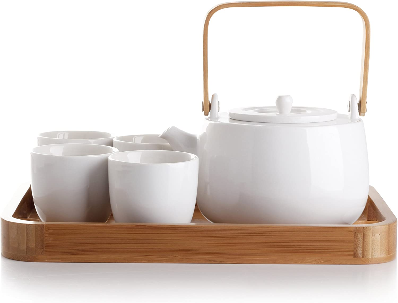 casaWare Dallas Mall Sale price Serenity 7-Piece Tea Pot Boxed Set White Gift