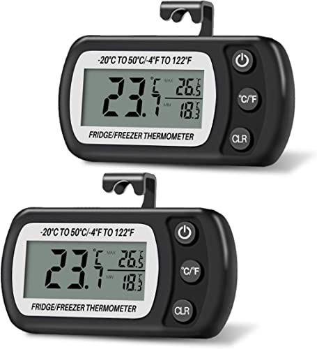 Thlevel 2 PCS Thermomètre pour Réfrigérateur Congélateur Frigidaire Numérique Température -20 à 50°C avec Crochet, Éc...