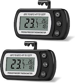 Thlevel 2 st kylskåpstermometer digital vattentät frys termometer kylskåp temperaturmonitor LCD-skärm max min skiva med kr...