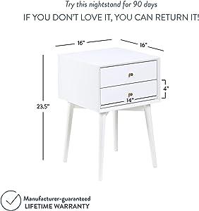 Nathan James Harper Mid-Century Modern Side Table, 2-Drawer Wood Nightstand, White