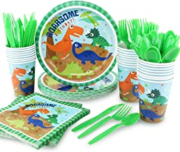 HAPYCITY 144Pack Dinosaur Party Supplies Set Serves 24 Perfect Dinosaur Birthday Packs Including Plates Napkins Cups Forks...