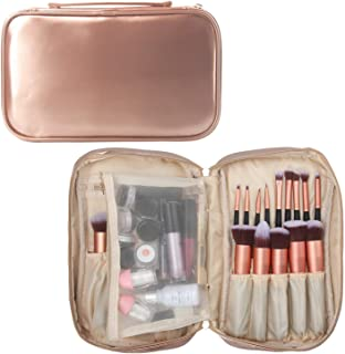 Professional Cosmetic Case Makeup Brush Bag Makeup Artist Case with Belt Strap Holder Multi functional Cosmetic Bag Makeup Handbag for Travel & Home Gift (Champagne gold)