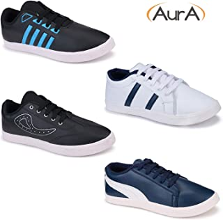 Aura Men Rexine Casual Shoes - Pack of 4