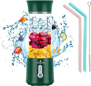Portable Blender Personal Size Vaeqozva Jucier Cup for Smoothie and Shakes with six 3D Blades 4000mAh USB Rechargeable Mini Blender 17Oz Fruit Juice Mixer for Home, Sport, Office, Outdoors