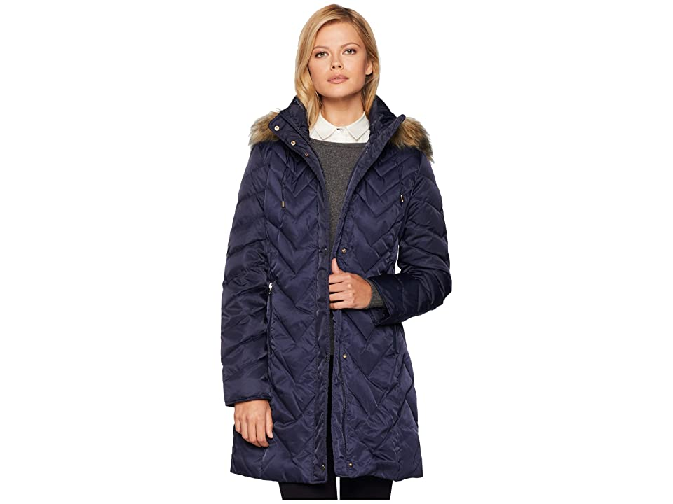 Marc New York by Andrew Marc Roxbury Matte Satin Down Fill Puffer 38 Faux Fur Trim Hood (Ink) Women