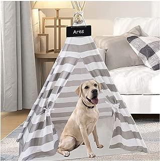 UKadou Pet Teepee Tent for Dogs, Grey Stripe Pet Teepee