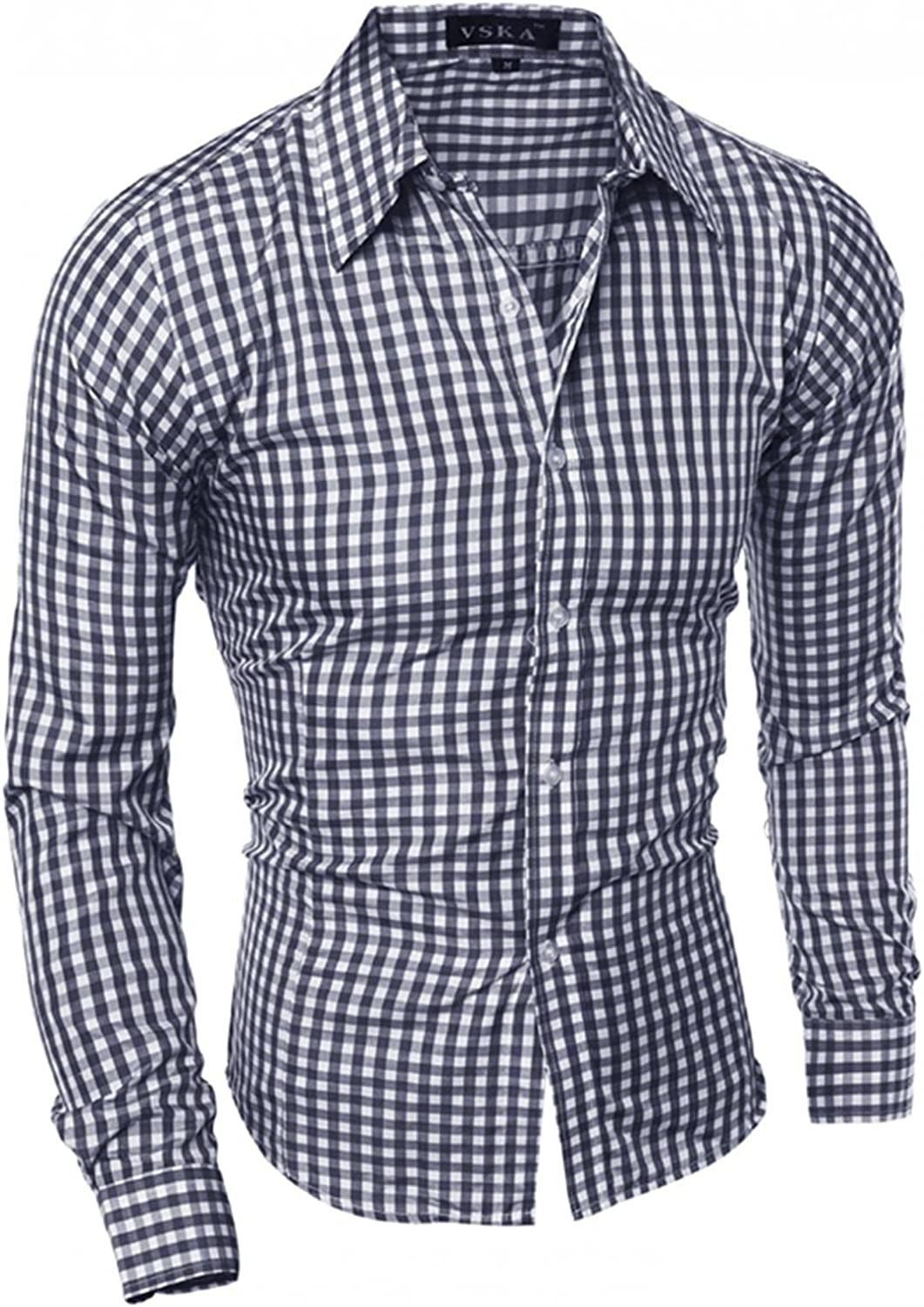 FUNEY Men's Long-Sleeve Regular-fit Casual Poplin Shirt Solid Slim Fit Plaid Casual Business Formal Button Up Shirts