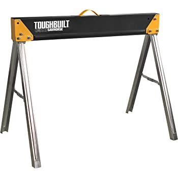 ToughBuilt Folding Sawhorse/Jobsite Table - Sturdy, Durable, Lightweight, Heavy-Duty, 100% High Grade Steel, 1100lb Capacity, Easy Carry Handle (TB-C300)