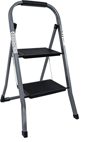 high quality EFINE 2 lowest Step online sale Ladder, Slim Folding Design Step Stool, High Grade Steel with Smooth Powder Coating, Sturdy and Lightwight, Holding up to 330lbs. (White) (Gray) online