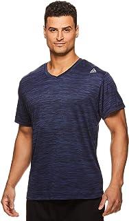 Reebok Men's V-Neck Workout Tee - Short Sleeve Gym & Training Activewear T Shirt