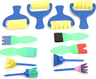 Kids Paint Brushes Set, Light Weight Plastic Handle Sponge Painting Tools, for Home School