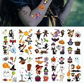 10 Sheets Halloween Temporary Cute Tattoos Pumpkin Bats Witch Monster Ghost Spider Tattoos,Great Halloween Party Accessory for Kids Children Men Women
