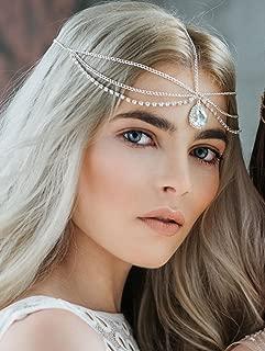 FXmimior Fashion Women Hot Bohe Halloween Charm Head Chain Vintage Rhinestones Crysatal Drop Headpiece Headband Wedding Prom Eveing Women Girl Hair Accessories (silver)