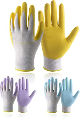 Bundle - 4 Pairs: Rose Pruning Long Gardening Gloves, 3 Pairs Nitrile Coated Yard Gloves for Women - Beige, Yellow, Purple, B