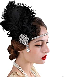 SWEETV 1920s Feather Headpiece Black, Womens Ostrish Feather Crystal Headband, Great Gatsby Hair Accessories for Women, Ribbon Tie