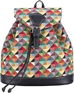 Signare Tapestry Fashion Backpack Rucksack for Women with Colorful Geometric Shapes Design (RUCK-MTRI)