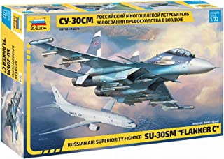 """Zvezda 7314 - Russian Air Superiority Fighter SU-30SM Flanker C- Plastic Model Kit Scale 1/72 Lenght 12.3"""" / 31.4 cm 385 D..."""