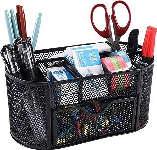 EasyPAG Office Mesh Desk Tidy Versatile Stationery Storage Desktop Organiser Pen Holder with Drawer,Black