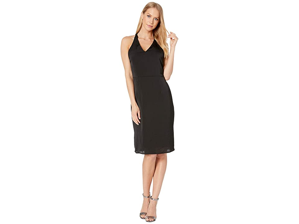 Bebe Sexy Sparkle Rhinestone Halter Dress (Jet Black) Women