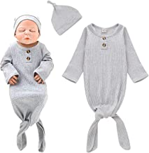 BOUTIKOME Unisex Baby Striped Cotton Sleeper Gowns with Cap Long Knotted Sleeping Bag
