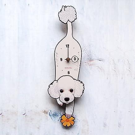 D-003 プードル白-犬の振り子時計