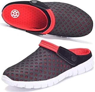 Hsyooes Mens Womens Mules & Clogs Garden Shoes Summer Breathable Mesh Slippers Non-Slip Outdoor Beach Sandals Unisex Black...
