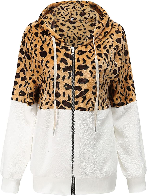 Leopard Fleece Jacket Women Warm Oversized Plush Sherpa Faux Fur Hooded Shaggy Coats