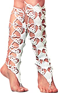 JOX JOZ Crochet Lace Up Anklet Barefoot Sandals knee high gladiator boots Foot jewelry