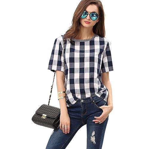 ad5aef4bd WDIRARA Women's Check Round Neck Short Sleeve T-Shirt