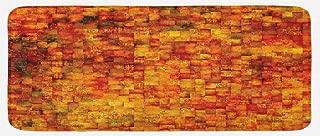 Ambesonne Burnt Orange Kitchen Mat, Vintage Mosaic Background Quadratic Little Geometric Squares Faded Print, Plush Decorative Kithcen Mat with Non Slip Backing, 47