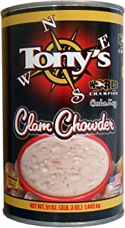 Tony's Clam Chowder, 3X World Champion, 51oz ounce (1 single can)