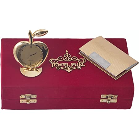 JEWEL FUEL Gold Plated Visiting Card Holder and Gold Plated Apple Table Clock Gift Set