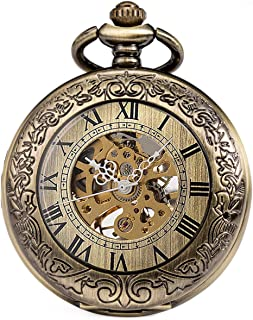 SIBOSUN Mechanical Pocket Watch Half Hunter Case Steampunk Skeleton Dial for Men Women Antique Bronze Roman Numerals Hand Wind Magnifier