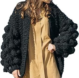 Women's Long Lantern Sleeve Open Front Sweater Overcoats Cardigan