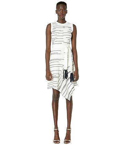 YIGAL AZROUEL Striped Rib Asymmetric Hem Dress (Ivory Multi) Women