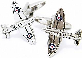 MFYS Jewelry スーパーマリン スピットファイア (Supermarine Spitfire) 戦闘機 飛行機 シルバー カフス【専用収納ケース付き】