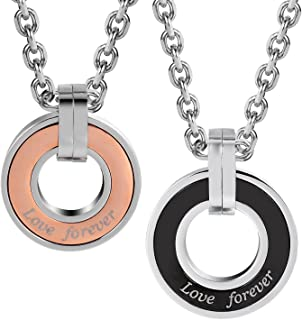 """Stunning 2pcs His & Hers Love Forever Couples Round Pendant Necklace Set with 19"""" & 21"""